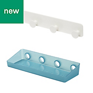 GoodHome Koros Plastic & steel Large shelf & hooks
