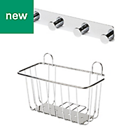 GoodHome Koros Chrome plated Steel Large basket & hooks