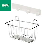 GoodHome Koros Chrome plated & powder coated Steel Large basket & hooks