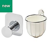 GoodHome Koros Chrome Plated Toilet brush holder & hook