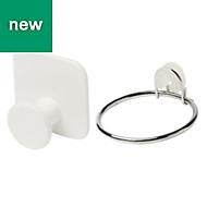 GoodHome Koros Silver Effect Chrome Plated Hair dryer holder & hook