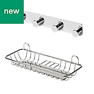 GoodHome Koros Chrome plated & powder coated Steel Large shelf & hook