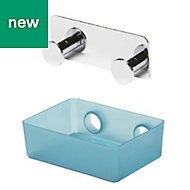 GoodHome Koros Chrome plated & granulated Plastic & steel Small shelf & hook