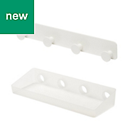 GoodHome Koros Translucent white Powder coated & plastic Large shelf & hooks