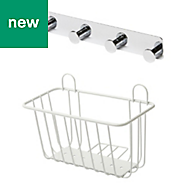 Koros White Chrome plated & powder coated Large basket & hook