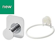 GoodHome Koros Chrome plated Hair dryer holder & hook
