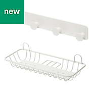 GoodHome Koros Powder Coated Steel Large shelf & hook