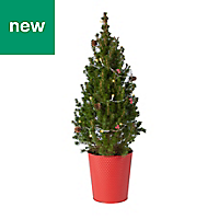 Decorated pre-lit tree in Tin