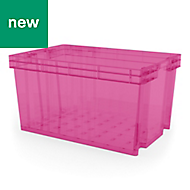 Xago Heavy duty Fuchsia 51L Plastic Large Stackable Storage box