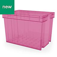 Xago Heavy duty Fuchsia 68L Plastic XL Stackable Storage box