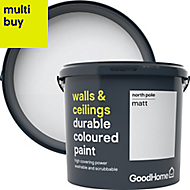 GoodHome Durable North pole Matt Emulsion paint 5L