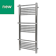 GoodHome Solna 313W Chrome plated Towel warmer (H)1100mm (W)500mm