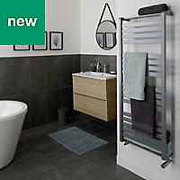 GoodHome Loreto 679W Grey Towel warmer (H)1300mm (W)500mm