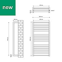 GoodHome Loreto 546W Anthracite Towel warmer (H)1000mm (W)500mm