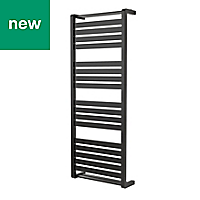 GoodHome Loreto 679W Anthracite Towel warmer (H)1300mm (W)500mm