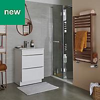 GoodHome Loreto 546W Copper Towel warmer (H)1000mm (W)500mm