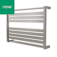 GoodHome Loreto 535W Grey Towel warmer (H)600mm (W)800mm