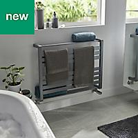 GoodHome Loreto 535W Grey Towel warmer (H)600mm (W)800mm