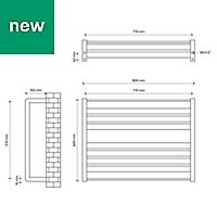 GoodHome Loreto 535W Anthracite Towel warmer (H)600mm (W)800mm