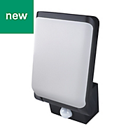 Blooma Artford Adjustable Black Mains-powered LED Outdoor Wall light 800lm, Pack of 1