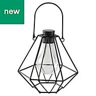 Metal & plastic Black Solar-powered External LED Mini lantern