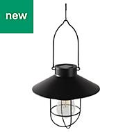Glass & metal Black Solar-powered External LED Lantern