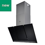 GoodHome Bamia GHAGML90 Black Glass Angled Slide lift cooker hood, (W)90cm
