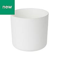 GoodHome Round Plastic White Pot (H)160mm (Dia)176mm