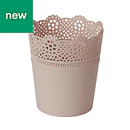 GoodHome Round Plastic Peach whip Lace Pot (H)155mm (Dia)137mm
