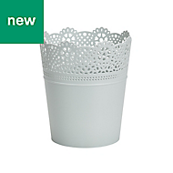 GoodHome Round Plastic White Lace Pot (H)210mm (Dia)180mm