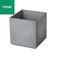 GoodHome Square Plastic Grey Concrete effect Pot (H)115mm