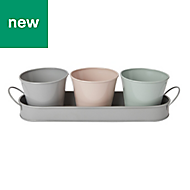 GoodHome Round Metal Multicolour Pot trio with tray (H)90mm (Dia)113mm, Set