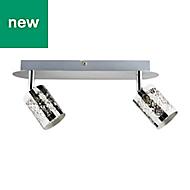 Barrow Gloss Silver Chrome effect Mains-powered 2 lamp Spotlight