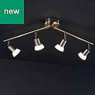 Nabesna Brushed Silver Chrome effect Mains-powered 4 lamp Spotlight