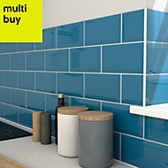 Trentie Petrol blue Gloss Ceramic Wall tile, Pack of 40, (L)200mm (W)100mm