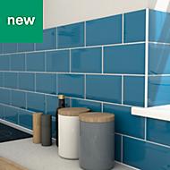 Trentie Petrol blue Gloss Ceramic Wall tile, Pack of 40, (L)200mm (W)100mm