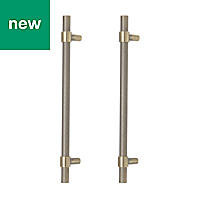 GoodHome Dukkah Gold Brass effect Cabinet handle (L)257mm, Pack of 2