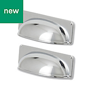 GoodHome Chrome effect Cabinet handle (L)96mm, Pack of 2