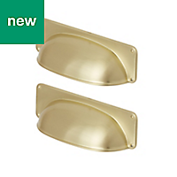 GoodHome Juniper Gold Brass effect Cabinet handle (L)96mm, Pack of 2