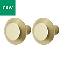 GoodHome Nutmeg Gold Brass effect Cabinet handle (L)32mm, Pack of 2