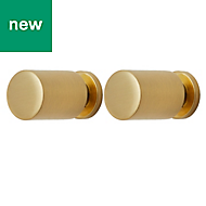 GoodHome Gold Brass effect Cabinet handle (L)12mm, Pack of 2