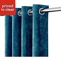 Pahea Blue Chenille Unlined Eyelet Curtain (W)135cm (L)260cm
