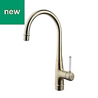 GoodHome Filbert Brass effect Kitchen Side lever Mixer tap