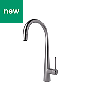 GoodHome Carya Stainless steel effect Kitchen Side lever Mixer tap