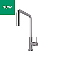 GoodHome Kamut Stainless steel effect Kitchen Side lever Mixer tap