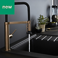 GoodHome Kamut Bronze effect Kitchen Side lever Mixer tap