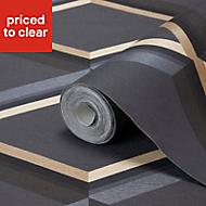 GoodHome Cornus Black & gold Geo design Metallic Pattern wallpaper