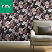 GoodHome Drosera Mauve Flower design Pattern wallpaper