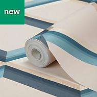 GoodHome Cornus Teal Geo design Metallic Pattern wallpaper