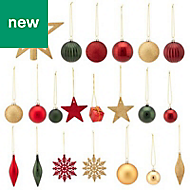 Gold, green & red Assorted Decoration, Pack of 100